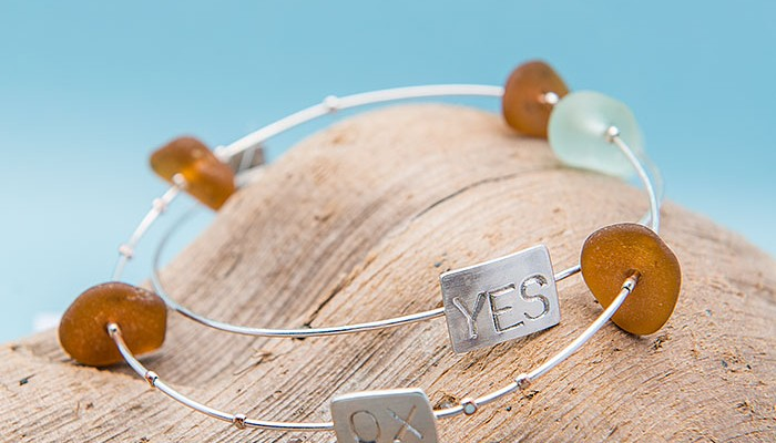 Simple Sea Glass He Loves Me Sea Glass Bracelet